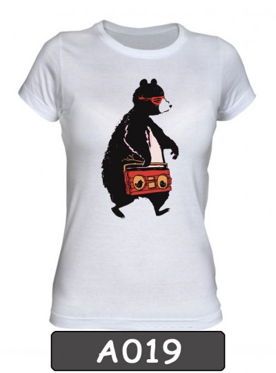 Remera estampada Bear Music. A019